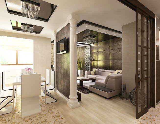 Элегантный вариант зонирования открытой площади квартиры