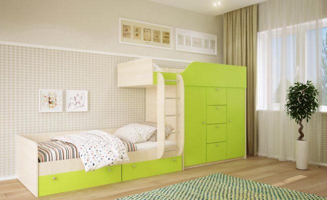 Вариант двухъярусной кровати для детей разного возраста