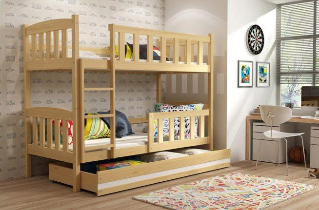 Детская двухэтажная кровать с большим ящиком для игрушек