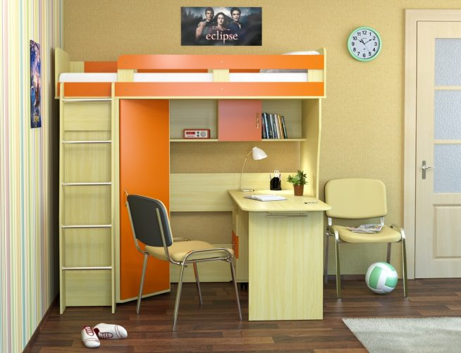 Кровать-чердак с рабочим местом