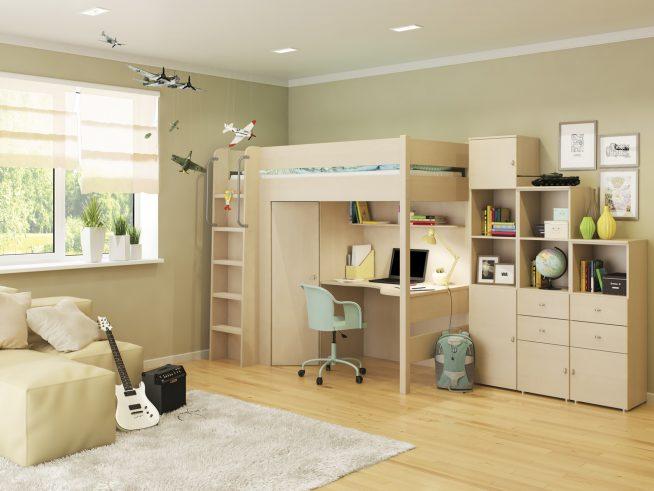 Кровать-чердак и шкаф для подростка