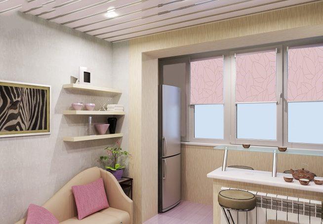 Пример увеличения кухни балконом