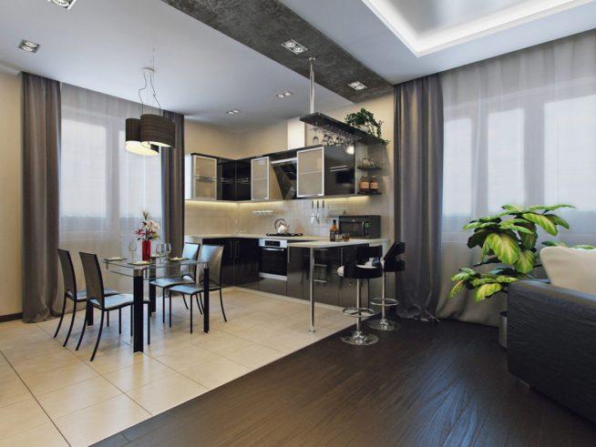 Разделение кухни и гостиной барной стойкой