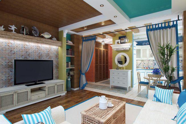 Дизайн квартиры-студии в средиземноморском стиле