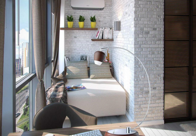 Дополнительное место для отдыха на балконе в гостиной