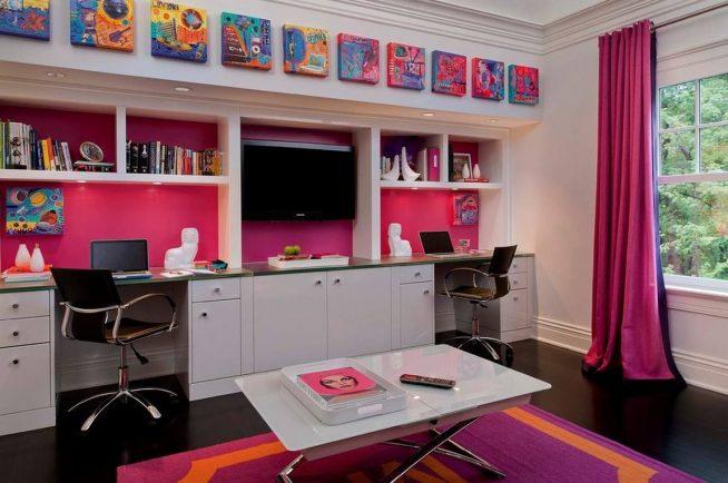Двойной рабочий стол яркого дизайна
