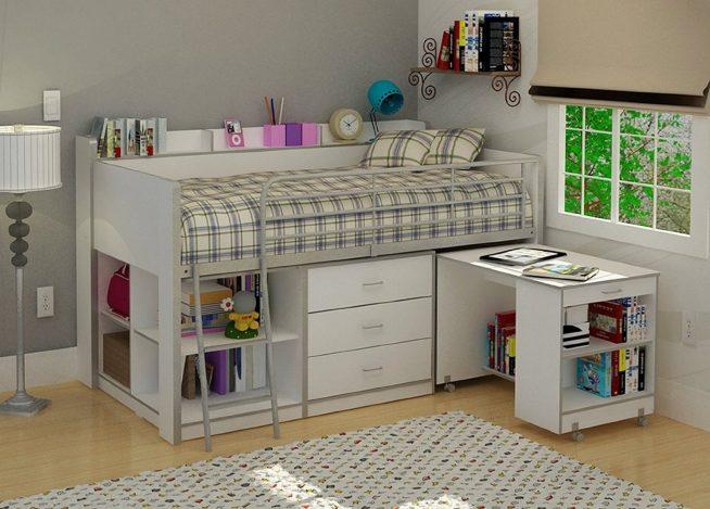 Выдвижной стол, встроенный в детскую кровать