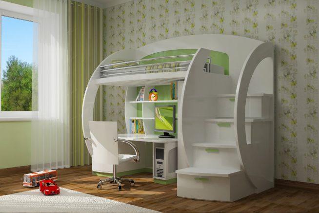 Оригинальный дизайн двухъярусной кровати-чердака