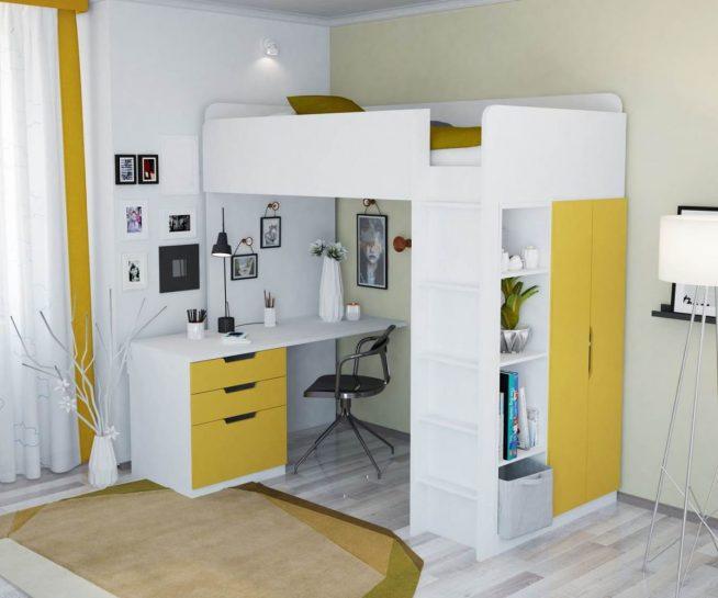 Просторное рабочее место под детской кроваткой-чердаком