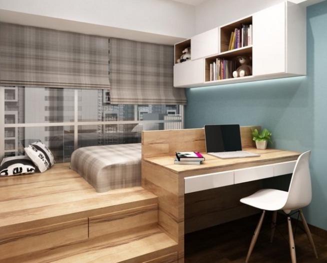 Кровать на подиуме и встроенный стол
