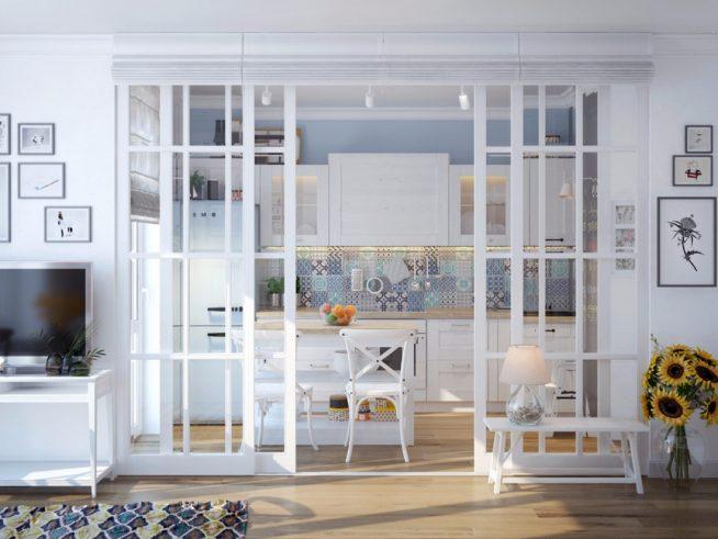 Стильное оформление кухни за раздвижными дверьми