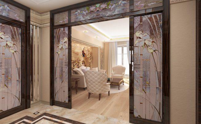 Красивая раздвижная дверь, выполненная в едином стиле со всем интерьером