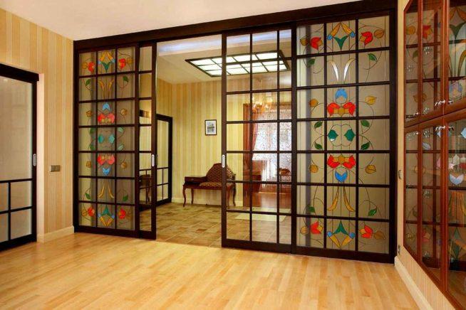 Раздвижная дверь-перегородка в винтажном стиле