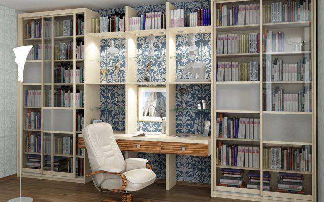 Эффектный встроенный книжный шкаф с рабочим столом