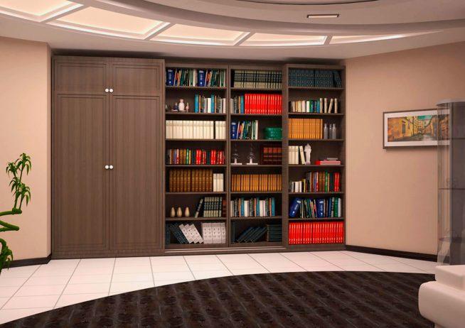 Встроенный шкаф в гостиной необычной формы