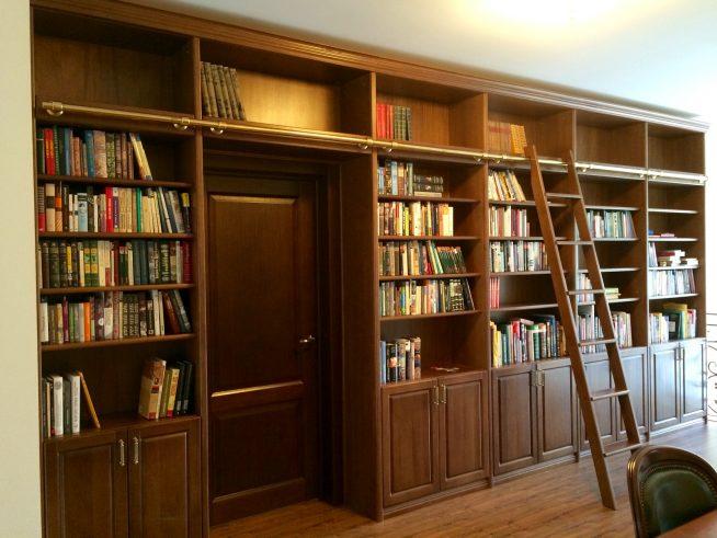 Домашняя библиотека с деревянной приставной лестницей