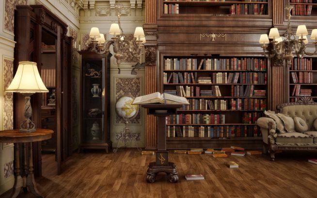 Библиотека в викторианском стиле