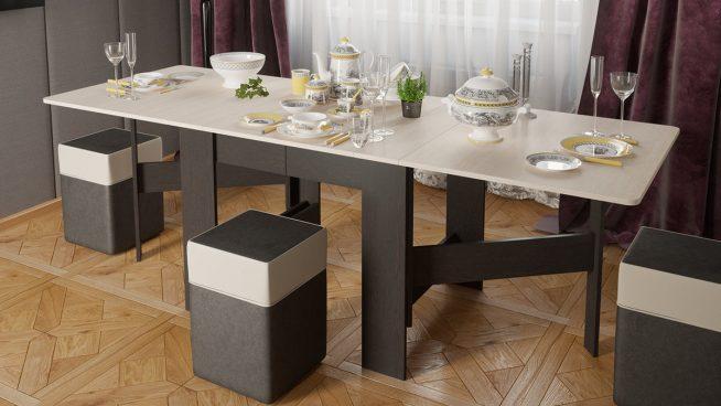 Большой обеденный раздвижной стол