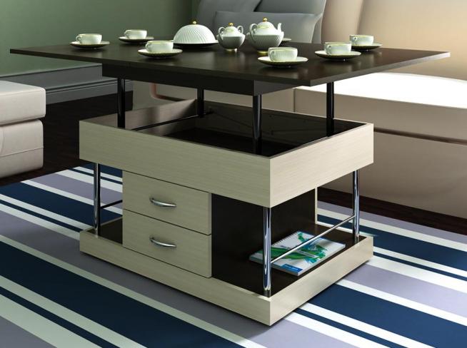 Изящный столик-транформер с выдвижными ящиками