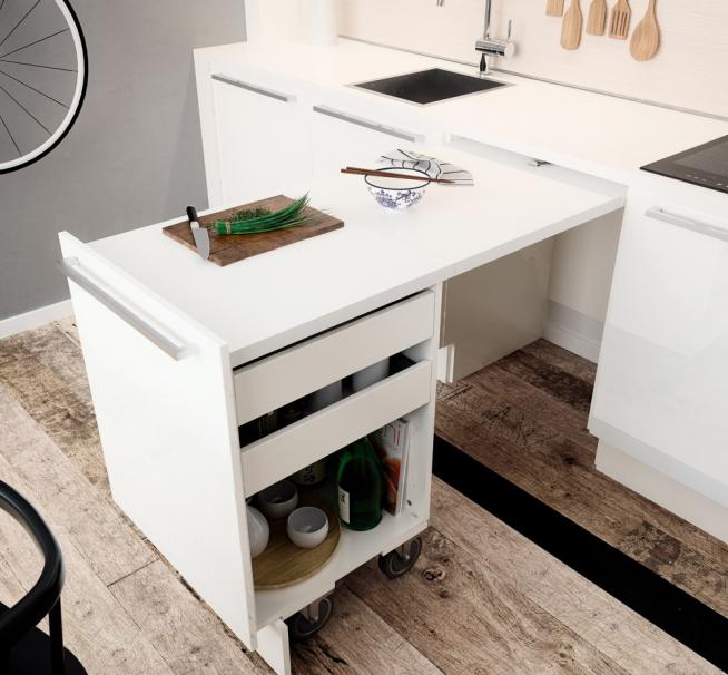 Практичный выдвижной стол-тумба для маленькой кухни