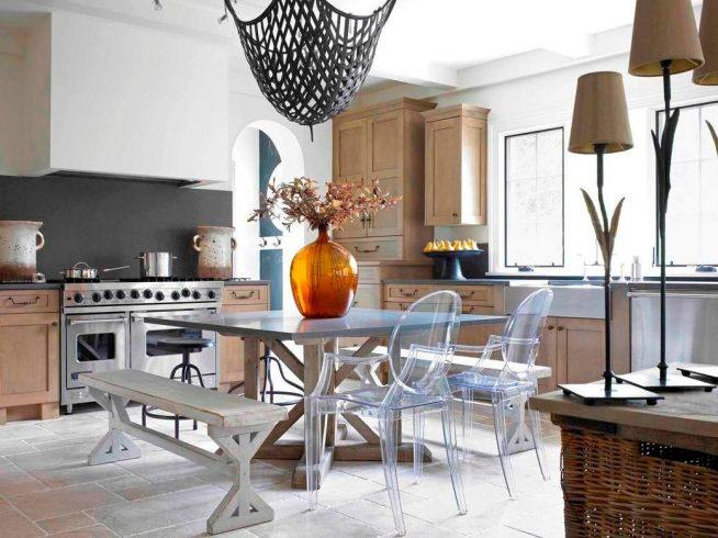 Оригинальный дизайн современной кухни-столовой