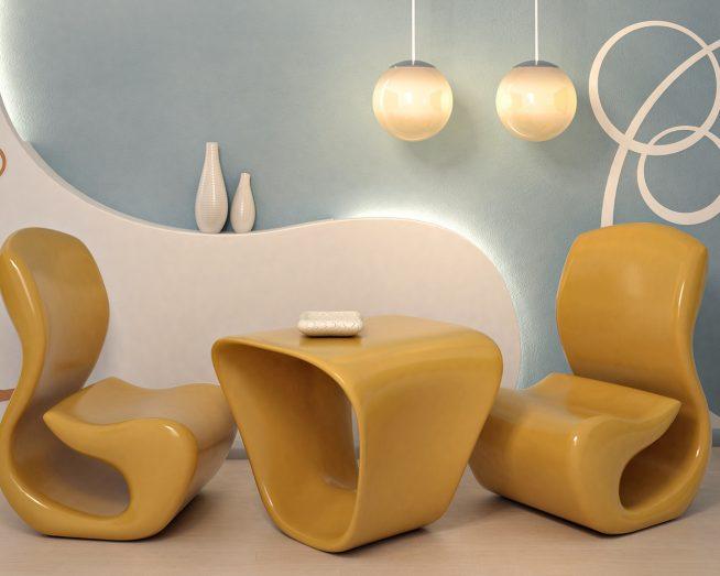 Необычный дизайнерский комплект в гостиную