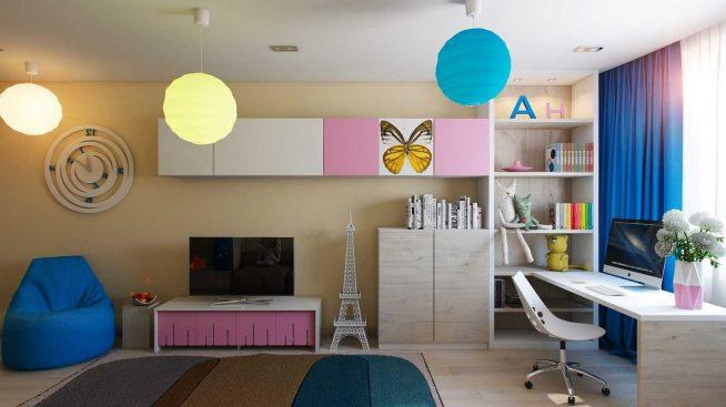 Освещение детской комнаты простыми, но нарядными люстрами