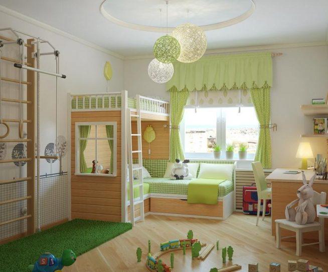 Люстры в детской комнате, соответствующие цветовой гамме интерьера