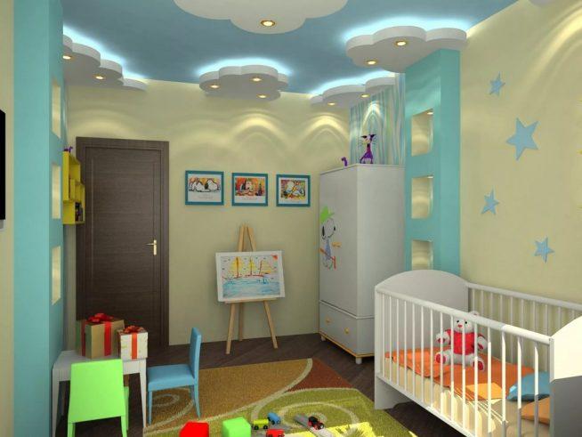 Красиво оформленный потолок в комнате младенца