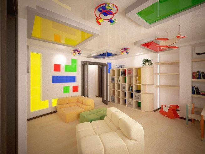 Эффектное разноцветное оформление потолка в детской