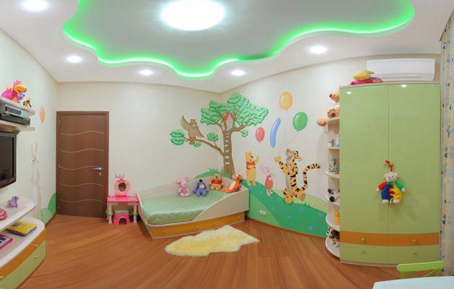 Оформление комнаты и потолка в одной цветовой гамме