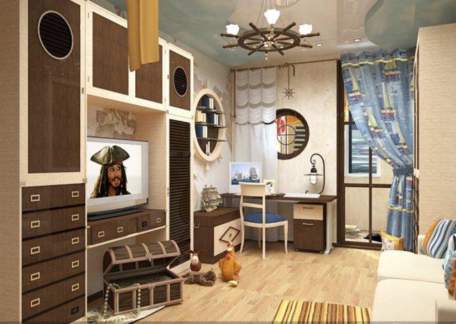 Комната и люстра в пиратском стиле