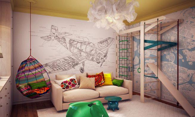 Оригинальное подвесное кресло в небольшой комнате подростка
