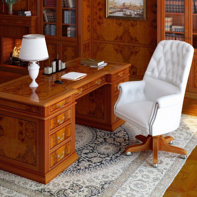 Компактное белое кресло в кабинет
