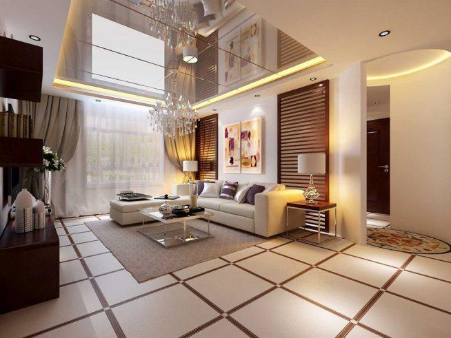 Эффектный зеркальный потолок в большой гостиной