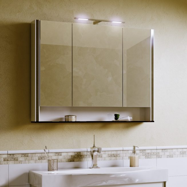 Зеркальный шкаф-трельяж в ванной комнате