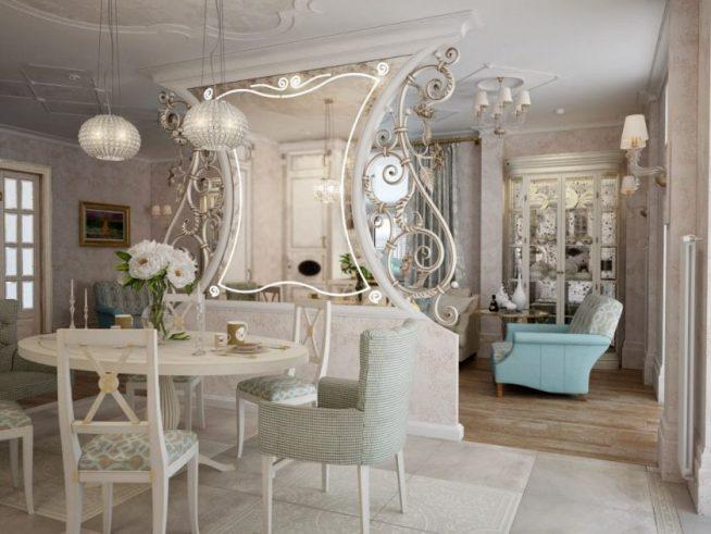 Зеркало и гостиная классического дизайна
