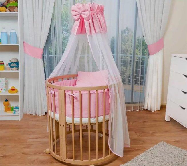 Детская кроватка круглой формы из дерева для новорождённого