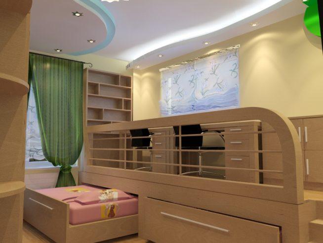 Две кровати, встроенные в подиум