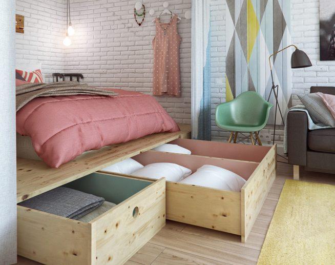 Кровать на подиуме с вместительными ящиками