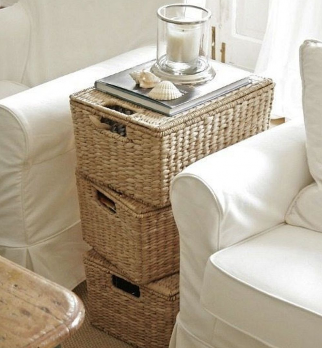 Оригинальный плетёный столик из ящиков