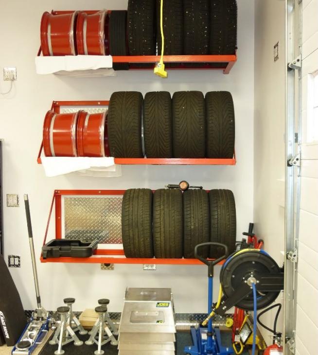 Многоярусный стеллаж для колёс