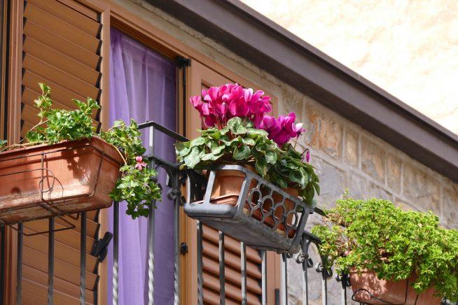 Ящики для цветов на перилах балкона
