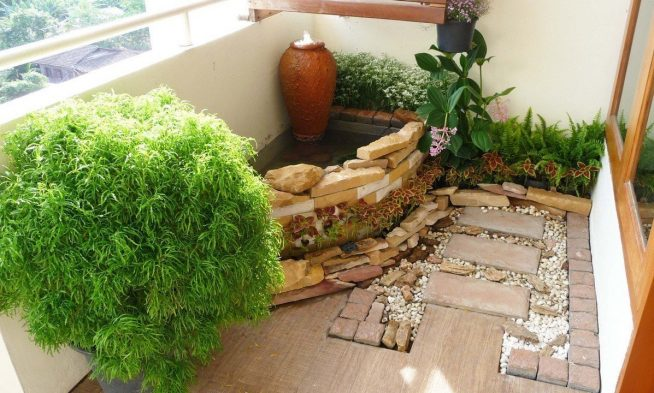 Зимний сад с декоративным водоёмом