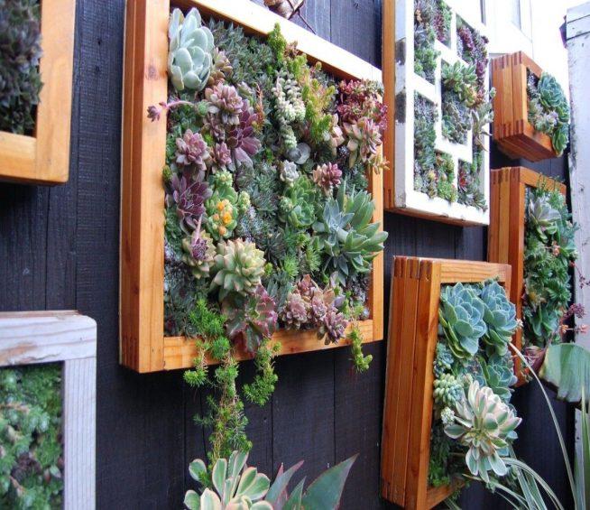 Настенные панно из цветов на балконе