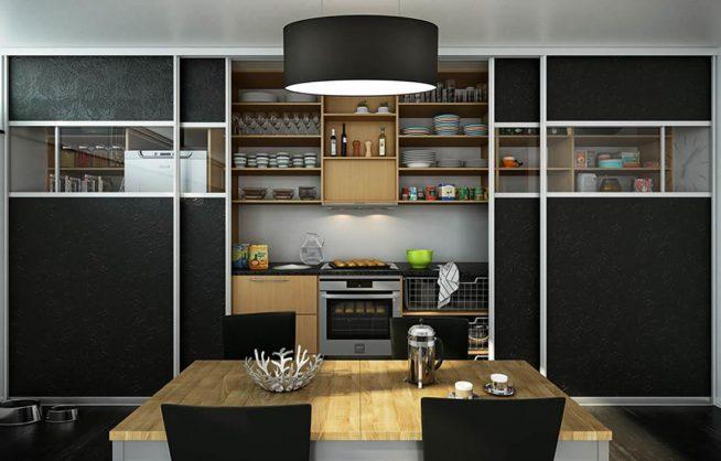 Кухня студии в шкафу-купе