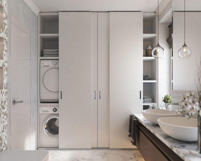 Шкаф-купе в ванной комнате
