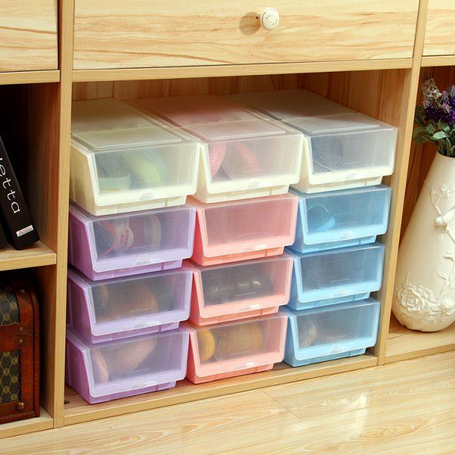 Пластиковые коробки для хранения обуви