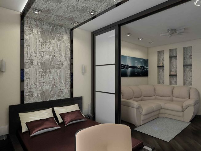 Дверь-купе для зонирования квартиры