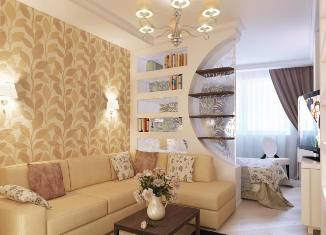 Перегородка-стеллаж для зонирования гостиной и спальни